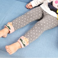 Autumn Winter Baby Pants Warm Cotton Children Baby Leggings Skinny Girl Cartoon Dot Casual Trousers For