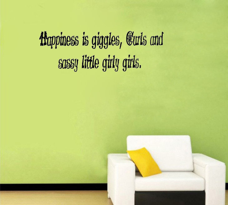 Happiness Is Giggles Curls And Sassy Little Girly Girls Wall Sticker Home Decoration Art Decal Living Room Decorative
