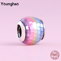 Younghao 925 Sterling Silver Mosaic Pink Blue Green Diy Jewlery Beads Charm Fit Original Pandora Charm Bracelets Gifts for Women