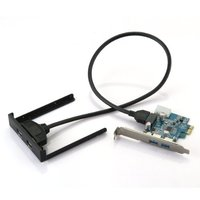 COTS Hot PCI Express PCI E Card 2 Port Hub Adapter USB 3 0 Front Panel
