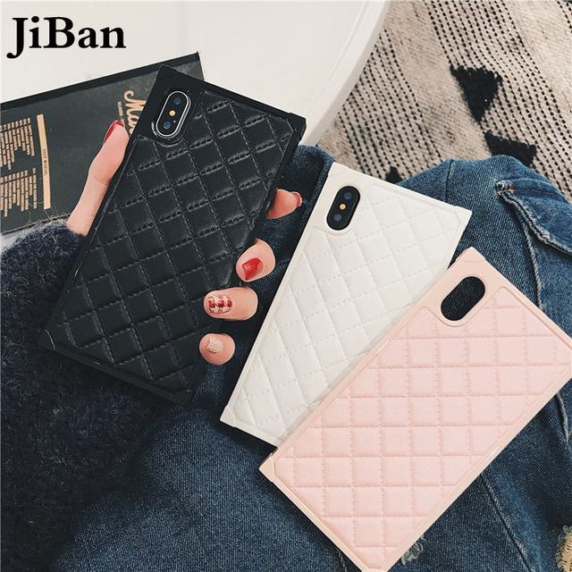 save off a6cc0 c825e US $7.59 5% OFF|POBLU For iphone XS Luxury Leather Square Lozenge Style  Case Fashion Business Girl Pink Back Cover Cases For iphone 6S 7 8 PLus -in  ...
