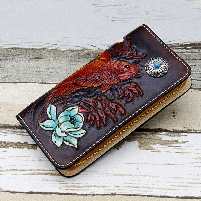 Hand-carved Cryprinus Carpiod Turquoise Design Wallets Bag Purses Men Long Clutch Vegetable Tanned Leather  Free Engraving