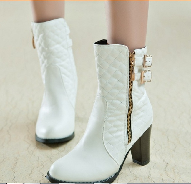 Ladies Sequined Zip big size(4 -15)sexy leather women boots round toe Mid- calf Buckle winter boot thick high heel boots 3colors