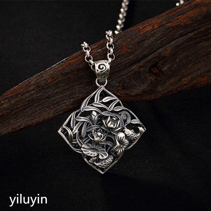 KJJEAXCMY S990 corte de encaje abierto rico y puro plata tailandesa plata antiguo suéter colgante