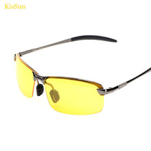 2016 Black G ray Frame Night Vision Driver Glasses Oculos Fashion Men Night Driving Sunglasses with KisSun Brand Logo Packaing