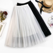 AcFirst Spring White Black Blue Sexy Women Skirt A-Line Pleated Mid-Calf Mesh Clothing Empire Long Skirts Beading