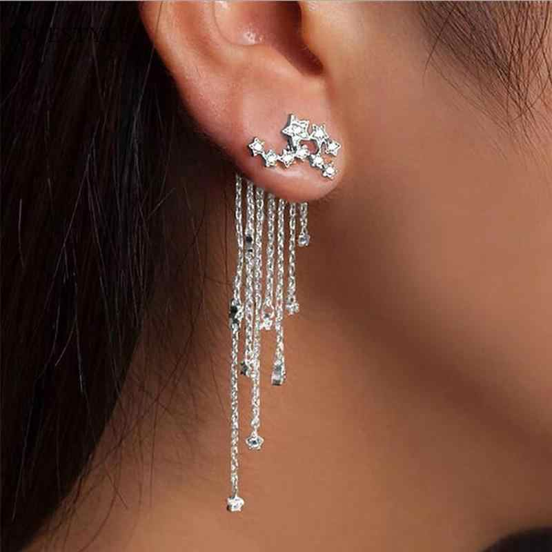 Fashion Earrings Chain Tassel Star Dangle Ear Geometric Hanging Earrings Creative Earrings for Women Jewelry Decor Oorbellen