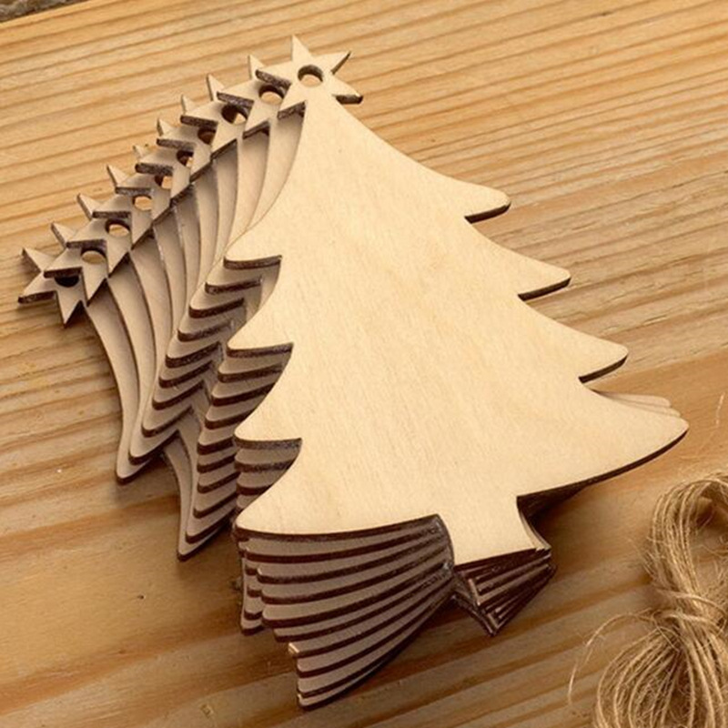 10Pcs:  10pcs Wooden Round Baubles Tags Christmas Trees Balls Decorations Art Craft Ornaments Christmas DIY Craft Toys Gifs For Children - Martin's & Co