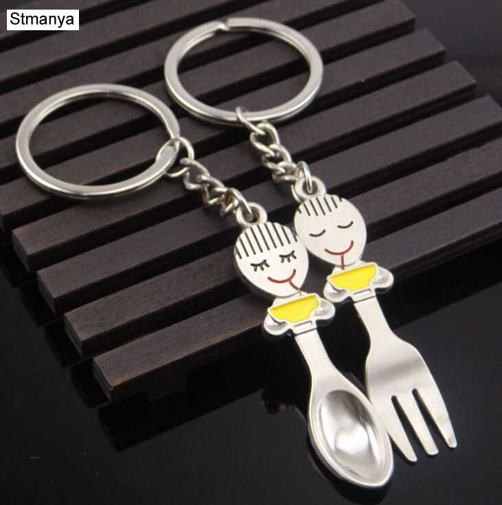 2 шт. Вилка ложка пара влюбленных цепочка для ключей, брелок пары романтический металлический брелок для ключей Автомобильный ключ кольцо на День Святого Валентина подарок 17307
