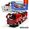 KAIDIWEI Engineering Vehicle 1:50 Scale Ladder Truck Fire Engine Diecast Alloy Metal Flashing Pull Back Car Model Kids Toy