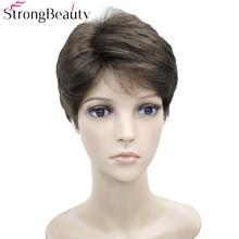 Сильный красота короткие синтетические волнистые парики термостойкие полный мужской парик