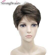 StrongBeauty короткие волнистые парики для тела синтетический женский/мужской парик термостойкий парик