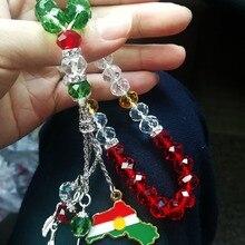 Collar de joyería con bandera kurda, cuentas de oración, Koerdische tasbih, Mapa del Kurdistán, colgante de oficina para el hogar, parches tesbih, kurdische