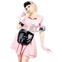 Suitop, латексное двухслойное платье горничной латексная модная одежда