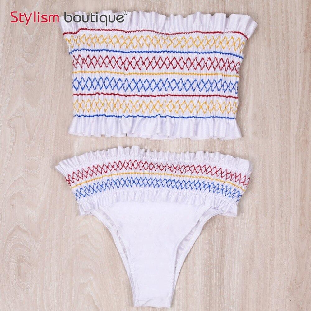 A fascia Smock Bikini Costumi Da Bagno delle Donne Arricciato Costumi Da Bagno Senza Spalline Brasiliano Biquini 2018