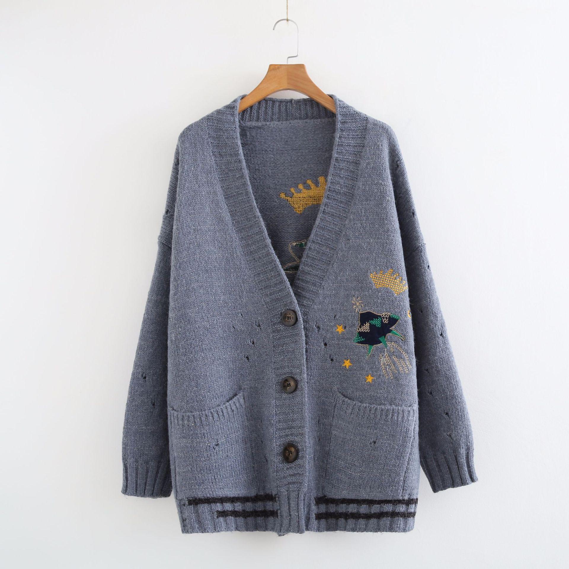 осенний новый женский вязаный свитер кардиган верхняя одежда