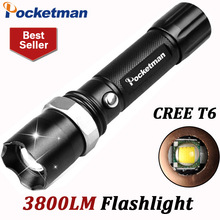 3800Lumens T6 Led Flashlight Torche Led Torch Lampe Zoomable Waterproof Tactical Flashlight lanterna Camping Hiking ZK90