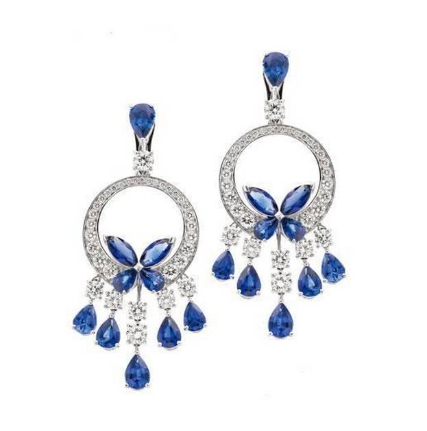 Qi Xuan_Fashion bijouterie _ personnalisé luxe bleu pierre fête goutte boucles d'oreilles _s925 solide argent boucles d'oreilles _factory directement ventes
