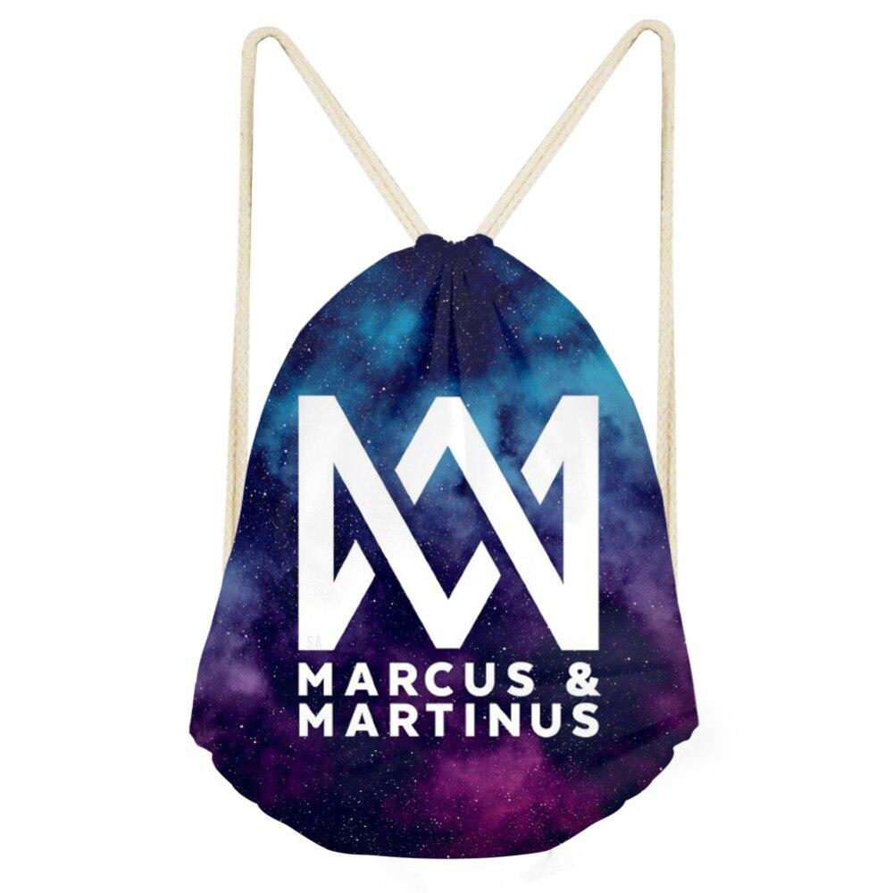 THIKIN Drawstring Bag Marcus And Martinus Logo Hip Hop Fans Women Backpack Fashion Storage Bag Girls DropShipping Mochila