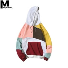 Moomphya 2019 New Patchwork Color Block Mens Hoodies Streetwear Hip Hop Hooded Sweatshirt Pullover Oversize Man