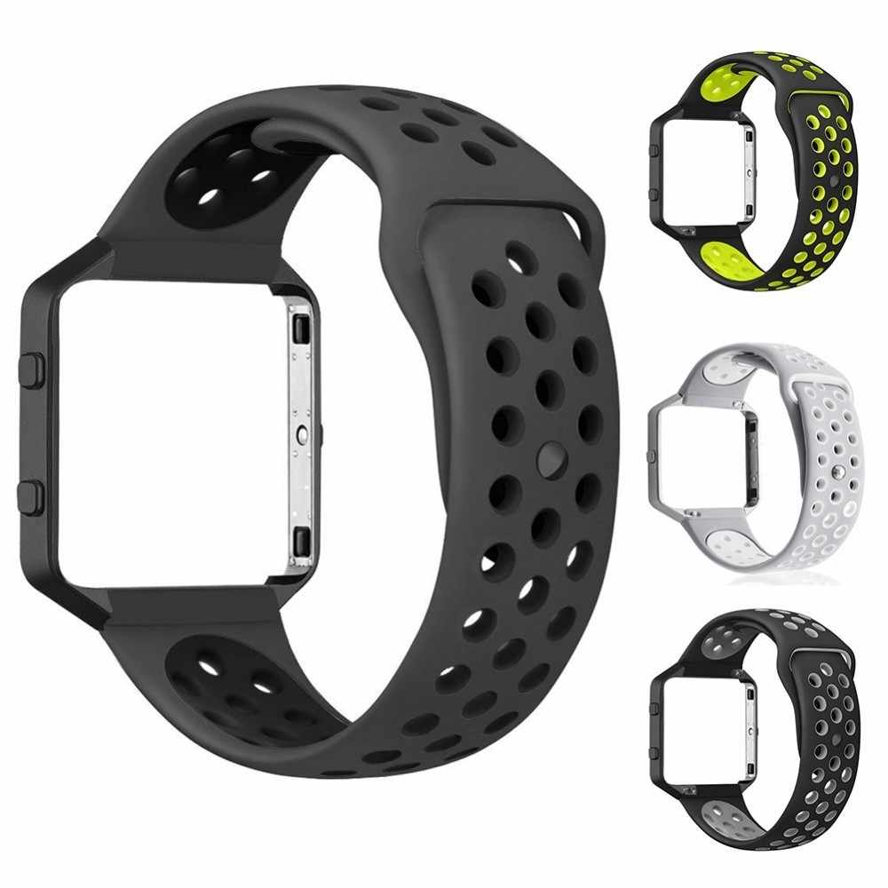 NEW Dual Color Round Hole Breathable Silicone Watch Strap & Watch Frame Wrist Band and Wrist Frame For Fitbit Blaze Smart Watch