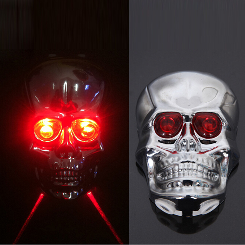 Skull Head Shaped Cycling Bike Bicycle 2 Laser Beam And 5 LED Rear Tail Light Lamp Safety Bicycle Rear Light  SM022