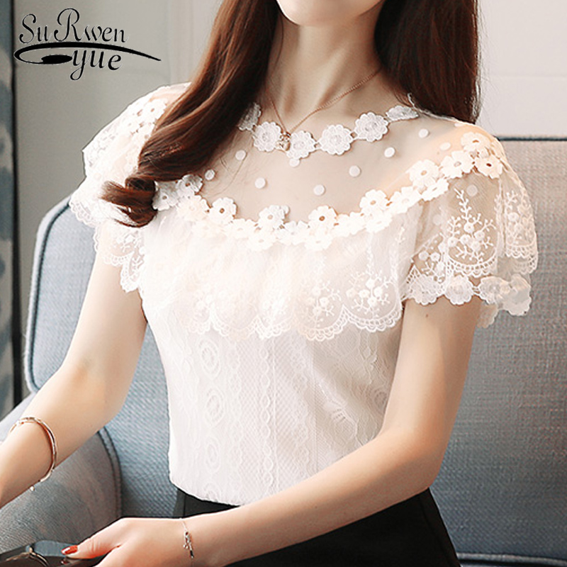 new fashion 2018 Sexy hollow lace women' clothing short sleeve summer women tops floral lace women   blouse     shirt   blusas 0051 30