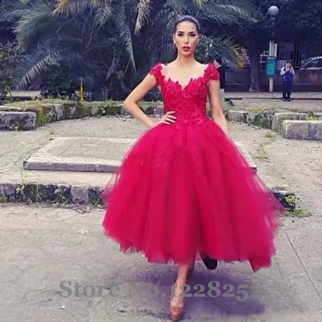 New 2017 Red Lace Prom Dresses Ball Gown Tea Length Tulle V Neck Cap ...
