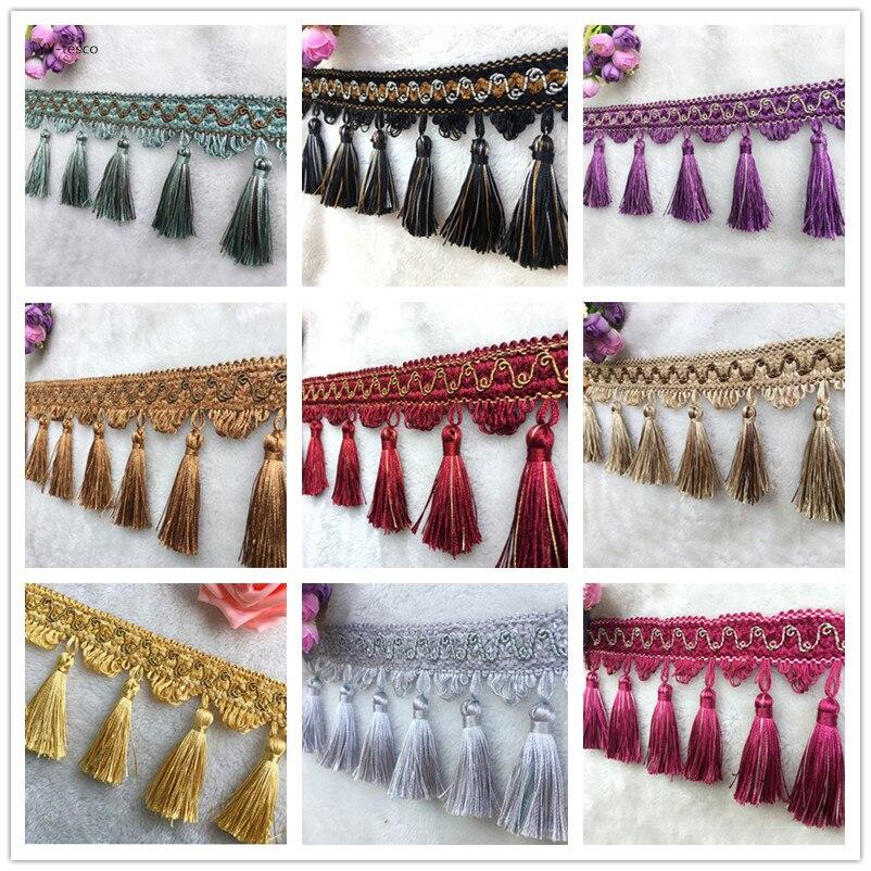 10Yard Lot Lace Tassel Pearl lobbing fringe applique ball curtain Sofa Tablecloth accessories lace trim diy