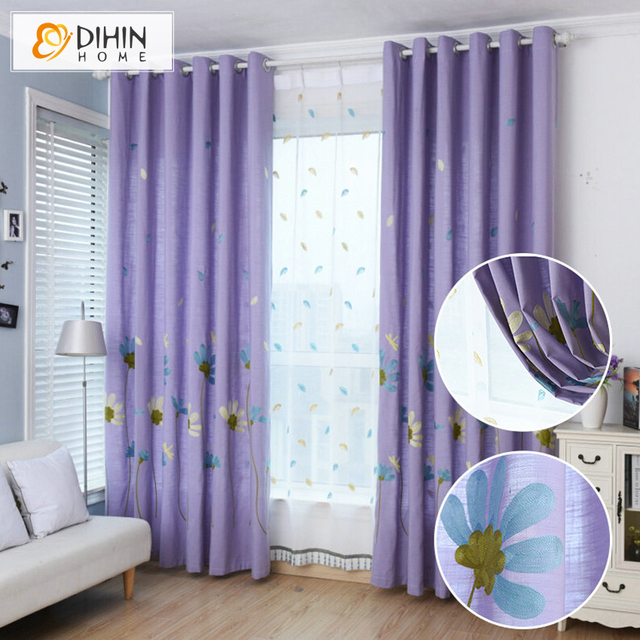 Embroidered Floral Curtains For Living Room Children Cartoon Purple Color Window Curtain Free Shipping & Embroidered Floral Curtains For Living Room Children Cartoon Purple ...