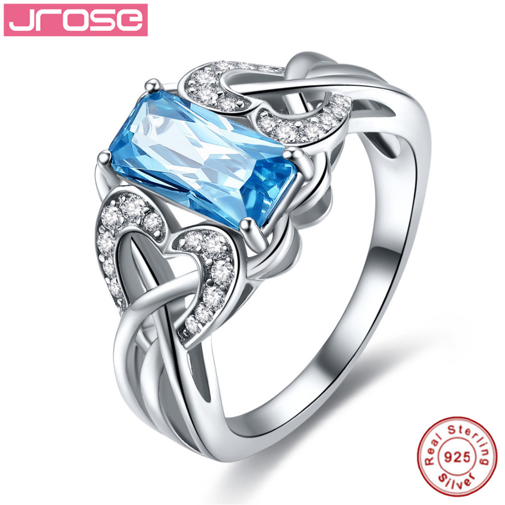 Jrose 2.62ct Free Jewelry Box Swiss Blue CZ 100% S925 Sterling Silver Ring Cocktail Party Rings Size 6 7 8 9 Free Shipping