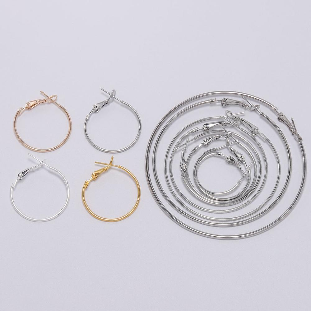 10pcs/lot Gold Silver Round Earring Hoop Hooks For Jewelry Making Finding Diy Earrings Accessories Supplies