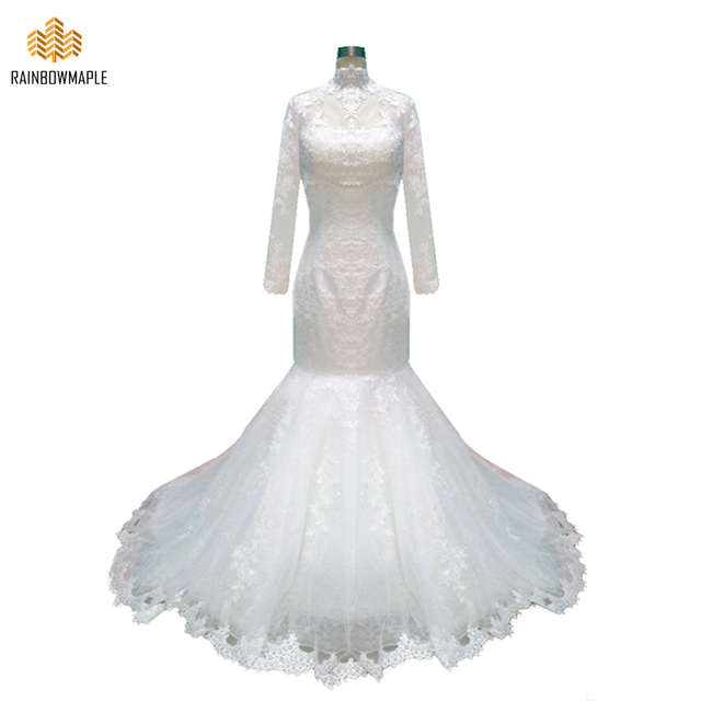 White Two Piece Lace Mermaid Wedding Dresses High Neck Long Sleeve