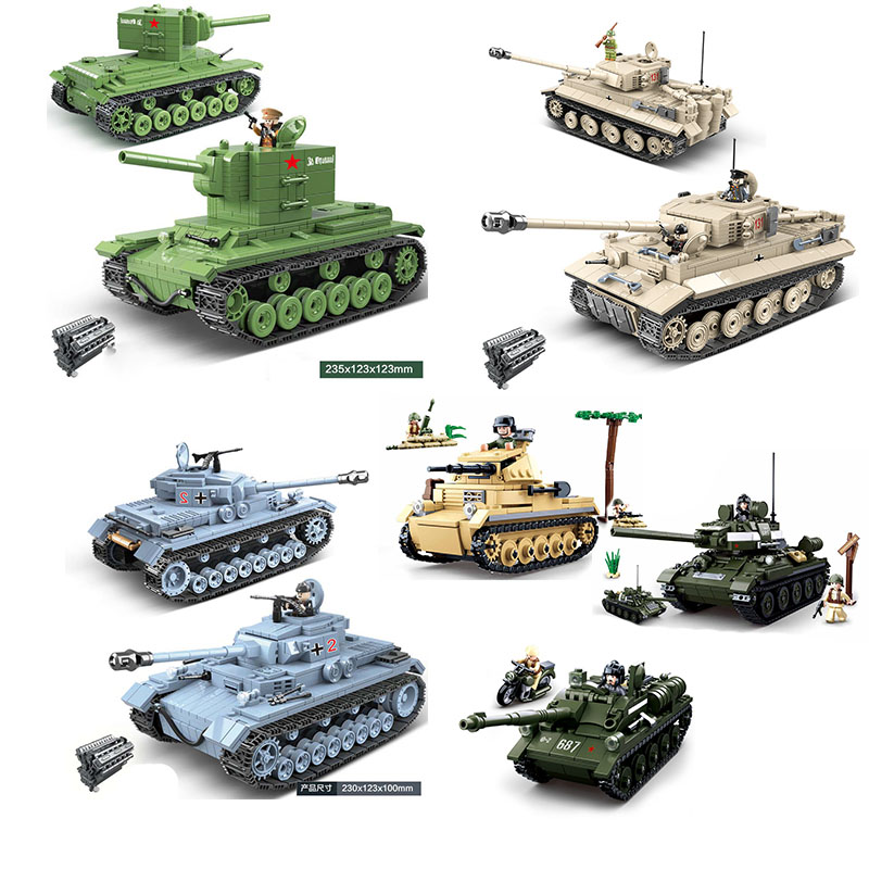 Military Series WW2 World War II Tank Collection Building Blocks Army Soldier Figures Toys For Children Gifts