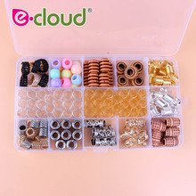 114Pcs Metal Hair Beads for Braids Plastic Dreadlock Beads Hair Rings Cuffs Crochet Accessories with Storage Box