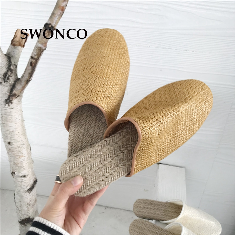 SWONCO Women's Slippers 2018 Spring Summer Straw Casual Half Shoes Women Slippers Flat Woman Shoes Slip on Female Footwear summer women slip on shallow breathable casual shoes female fashion beach shoes slippers ladies footwear women shoes cld927