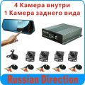 Russian menu CAR DVR kit,5 cameras CAR DVR system, 4 cameras recording, 1 camera for rear driving