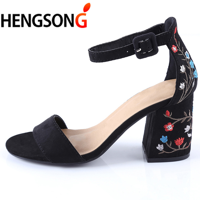 HENGSONG Women Sandals Embroider High Heel Women Sandals Ethnic Floral Sandalias Muje Party Shoes Zapatos Mujer TR913149 1