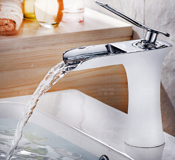 Free shipping Chrome and white color Finish Waterfall Faucet Bathroom Faucet Bathroom Basin Mixer Tap with Hot and Cold Water becola chrome waterfall bathroom faucet brass hot and cold water faucet free shipping lt 601