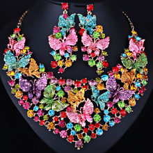 Hand-painted Butterfly Crystal Necklace Earrings Luxuriously Drilled Middle East African Bride Jewelry Sets()