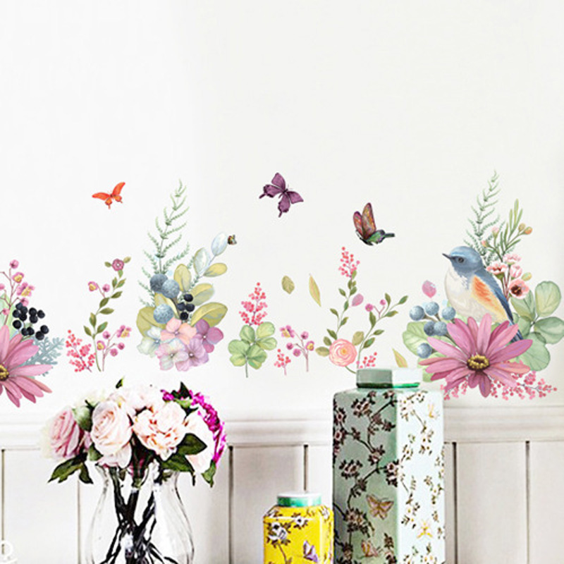 Beautiful Flowers Birds Butterfly Wall Sticker Warm Bedroom Decor Decals Wallpaper Home Decoration Stickers