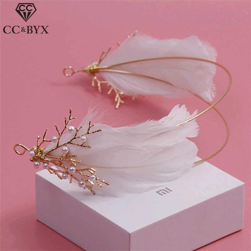 CC & BYXเครื่องประดับผมT Iara G LodสีH Airbandsขนนกสีขาวมงกุฎผู้หญิงพรรคหมั้นงานแต่งงานอุปกรณ์ผมเจ้าสาว6596