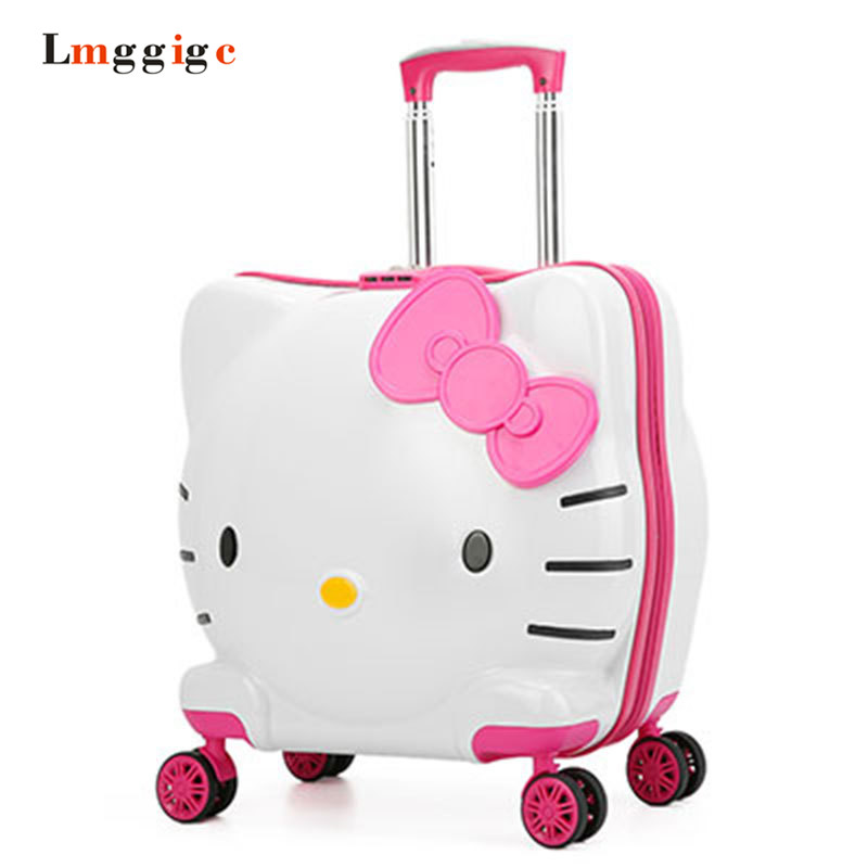 Kids Spinner Rolling Luggage,Children Hello Kitty Universal wheel Suitcase,Child Trolley Bag,Boy Girl Gift Carry On Travel Box universal uheels trolley travel suitcase double shoulder backpack bag with rolling multilayer school bag commercial luggage