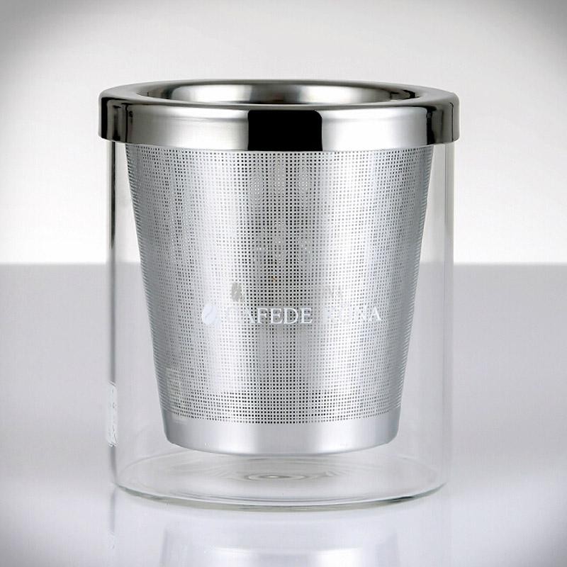 High Quality Stainless Steel Mesh Coffee Filter 280ml Glass Coffee Cup Manual Coffee Powder