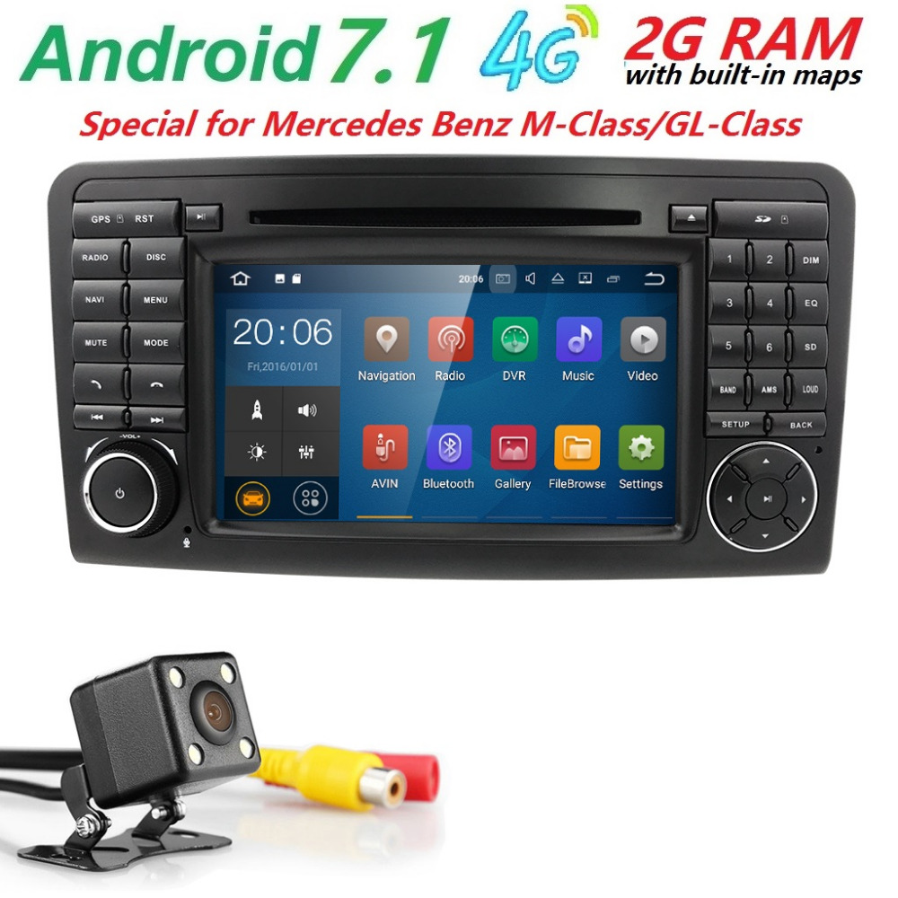 72Din Car Radio Android 7.1 CAR DVD Multimedia player For Mercedes Benz ML GL CLASS W164 ML350 ML500 X164 GL320 GPS StereoWifi seicane 2din android 8 0 7inch car radio stereo gps multimedia player for mercedes benz slk class slk200 slk280 slk350 slk55