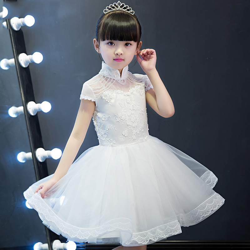 Luxury Knee Length Sweet Princess Kid Dress For Girls Summer 2018 Flower Girls For Wedding And Prom Party kids Girls Dresses P24 hot sale summer 2017 elegant lace appliques prom party sweet princess kids dress for girls luxury flower girls for wedding p43