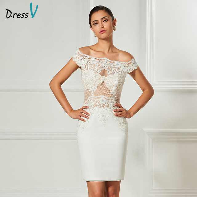 Dressv ivory off the shoulder cocktailkleid elegante knielangen ...