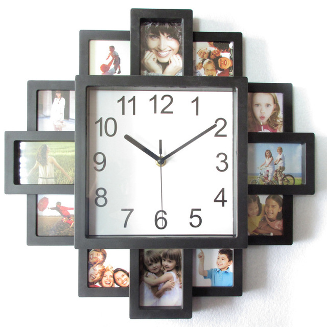 2018 New DIY Wall Clock Modern Design DIY Photo Frame Clock Black Plastic Photo Frame Living Room Decoration