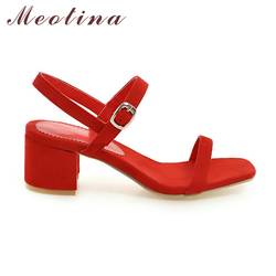 Meotina Design Shoes Women Sandals Summer 2018 Chunky Heel Sandals Open Toe Buckle Party Mid Heels Yellow Red Plus Size 9 42 43 2