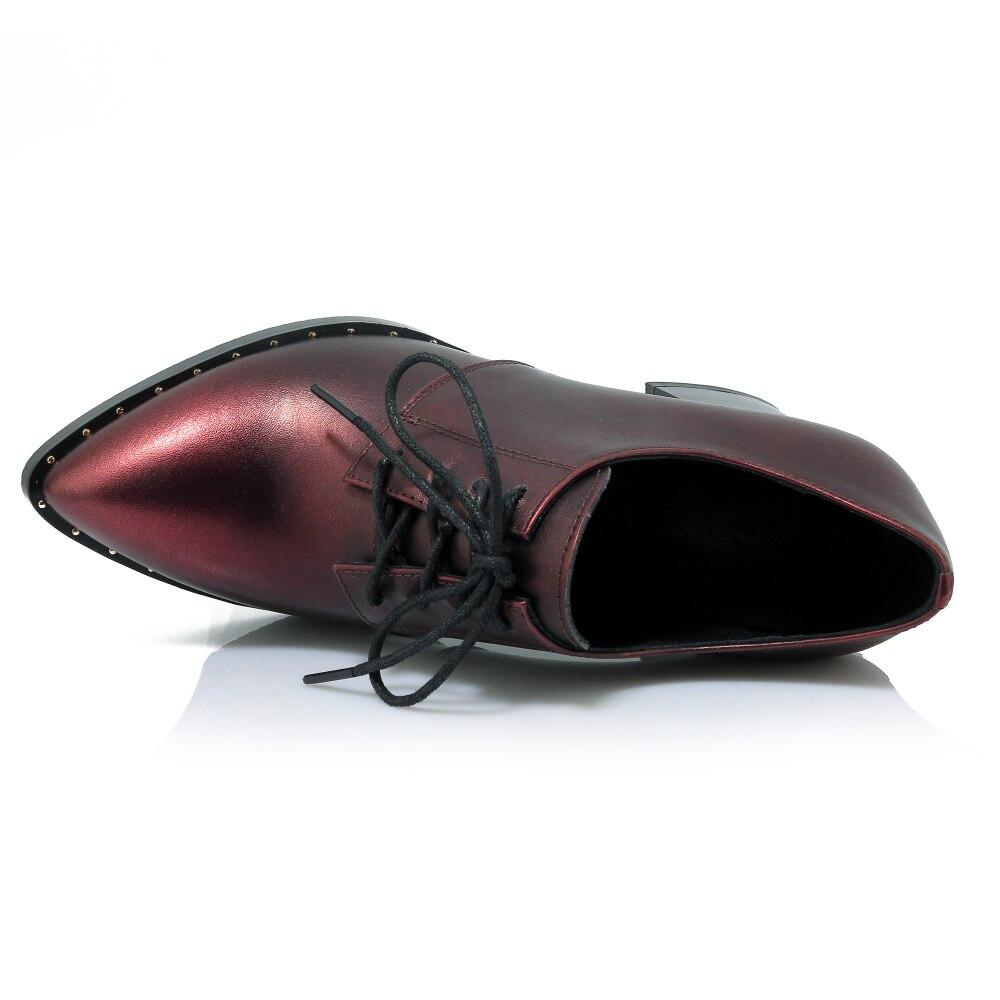 Pointu Talons En Pompes Taille Dentelle up Cuir 34 Oxford Haute Femmes Bout Mode Black 40 Solide Véritable Rivet red Chaussures pqxXvCCwS